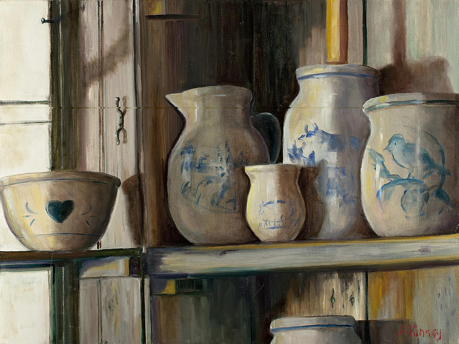 Crocks Painting - On The Shelf by Sheila Kinsey