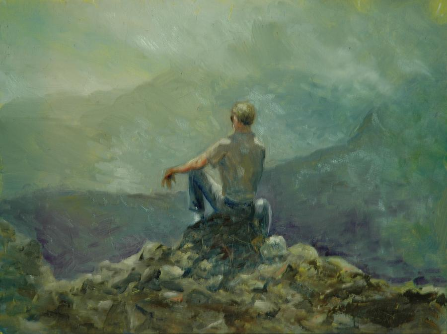 Landscape Painting - On The Top Of The Rockpile by Aline Lotter