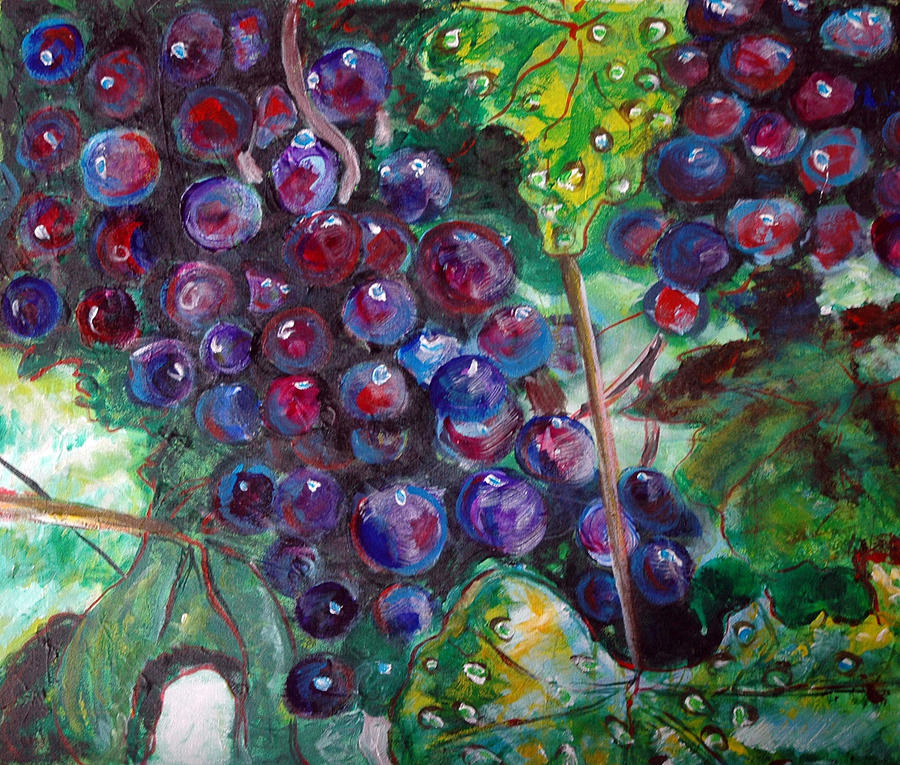 Grapes Painting - On The Vine by Kat Richey