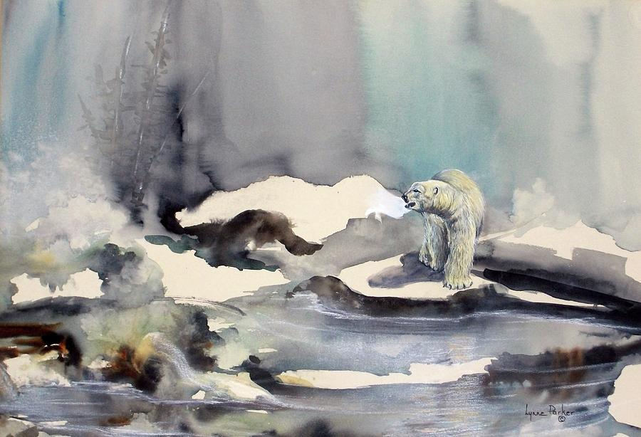 Polar Bear Painting - On Thin Ice by Lynne Parker