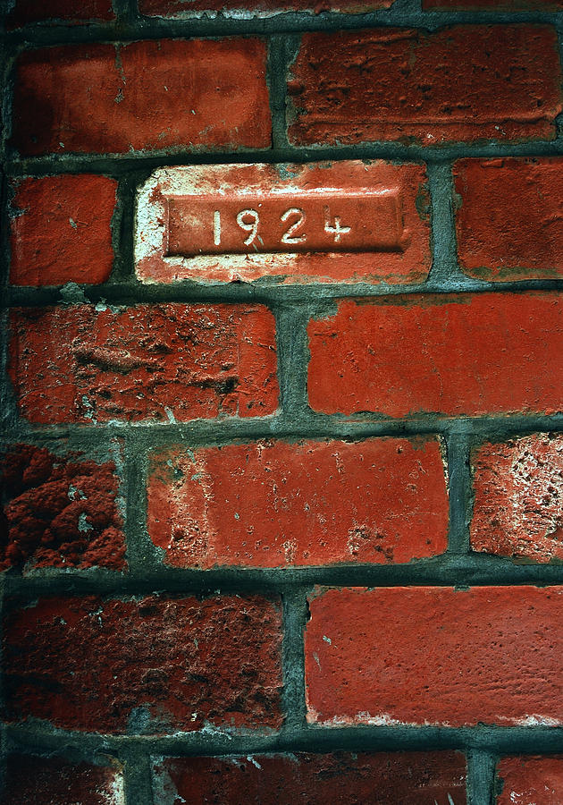 Bricks Photograph - One Brick To Remember - 1924 Date Stone by Steven Milner