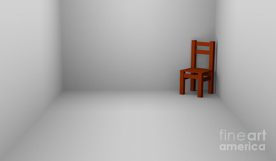 One Chair In Empty Room Digital Art By Igor Kislev
