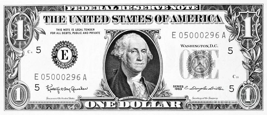 5 Dollar Bill Black And White