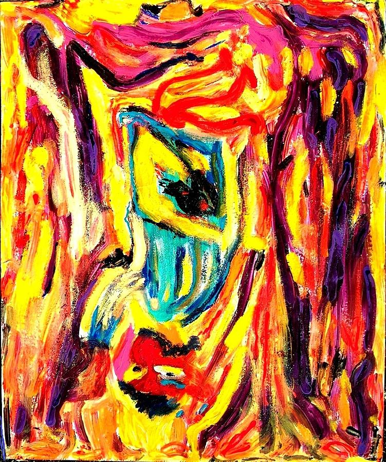 Color Yellow Painting - One Eyed Jack by Darlyne Sax