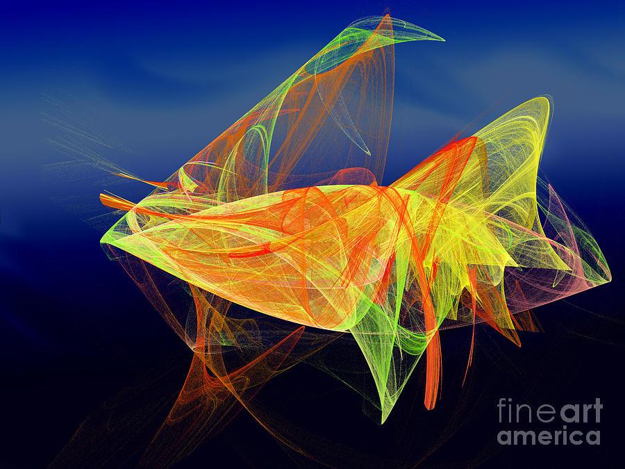 Fractal Digital Art - One Fish Rainbow Fish by Andee Design