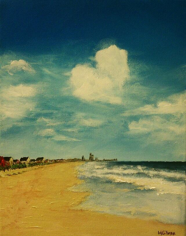 Heart Painting - One Heart Over The Beach by Heather  Gillmer