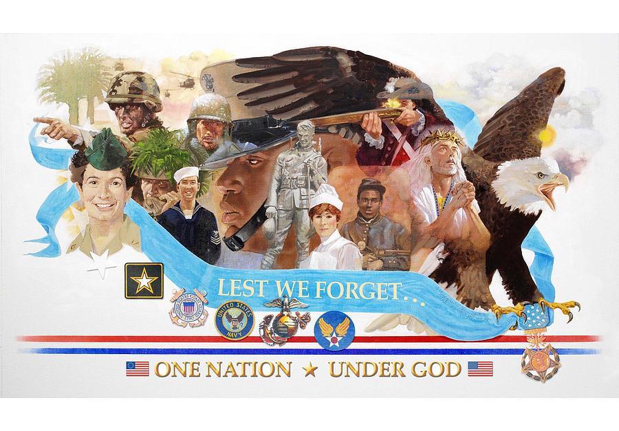 Patriotism Painting - One Nation Under God by Chuck Hamrick