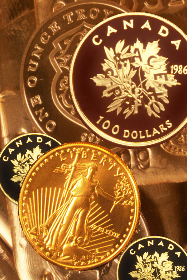 Vertical Photograph - One Troy Ounce Us And Canadian Gold Coins by Lyle Leduc