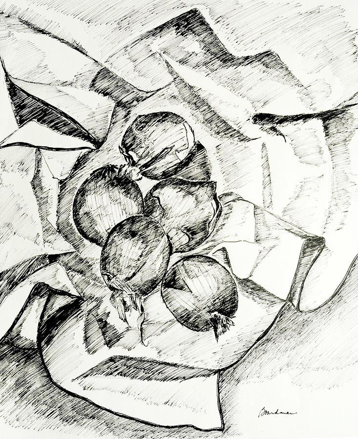 Still Life Tapestry - Textile - Onions by Lynda K Boardman
