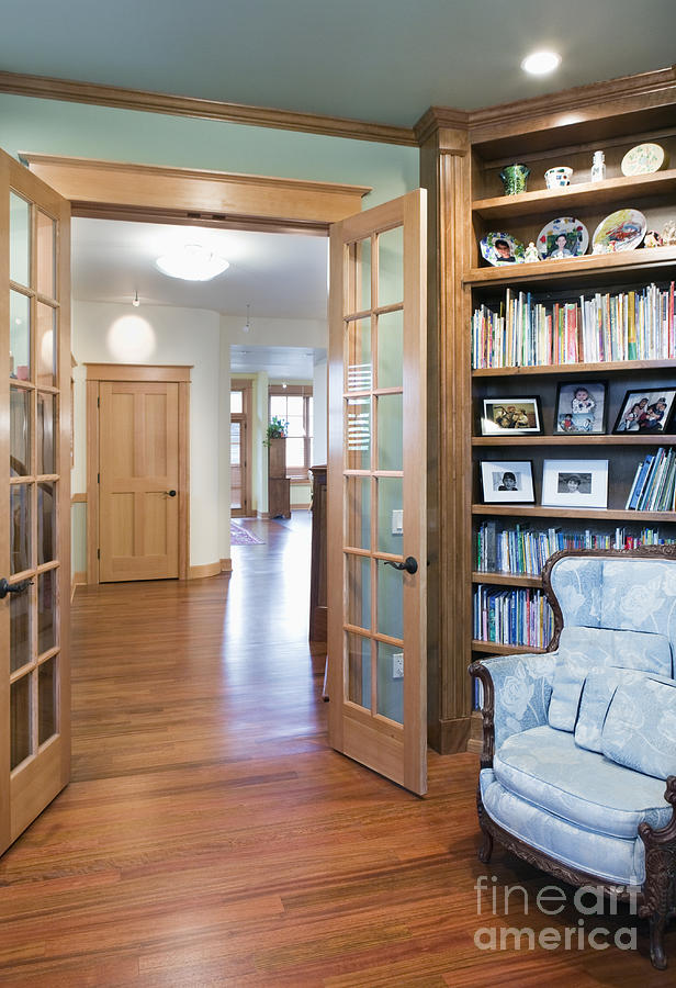 Affluence Photograph - Open French Doors And Home Library by Andersen Ross