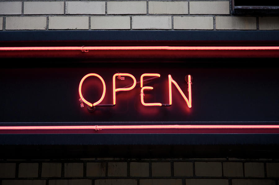 Horizontal Photograph - Open Neon Sign by Frederick Bass