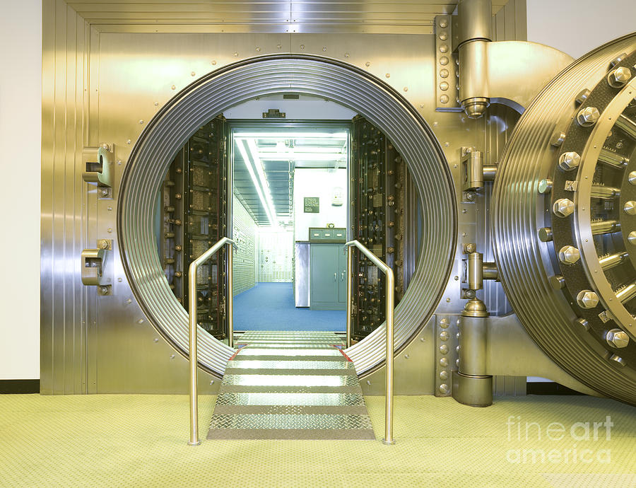 Architectural Photograph - Open Vault At A Bank by Adam Crowley