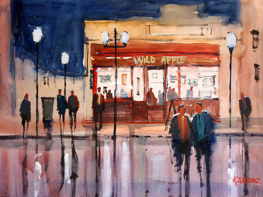 Street Scene Painting - Opening Night by Ryan Radke