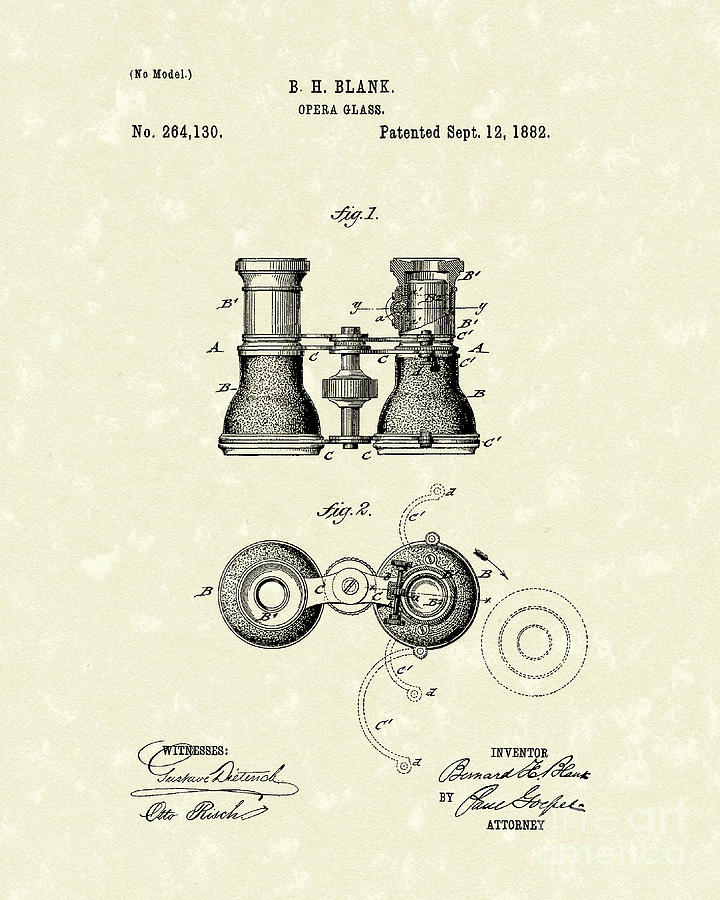 Blank Drawing - Opera Glass 1882 Patent Art by Prior Art Design
