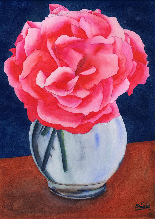 Watercolor Painting - Opera Rose by Ken Powers