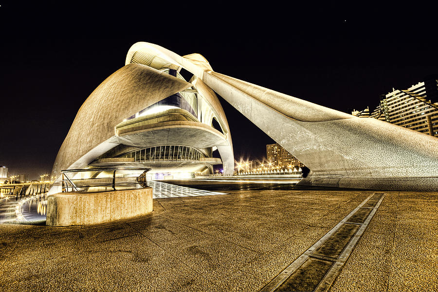 Night Photograph - Opera Valencia by Gabriel Calahorra