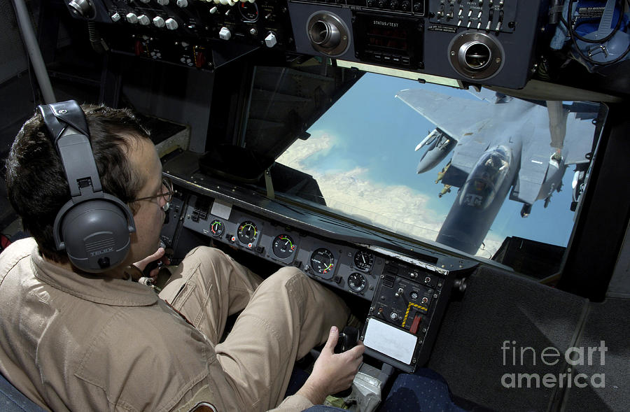Aerial Photograph - Operator Refuels An F-16 Fighting by Stocktrek Images