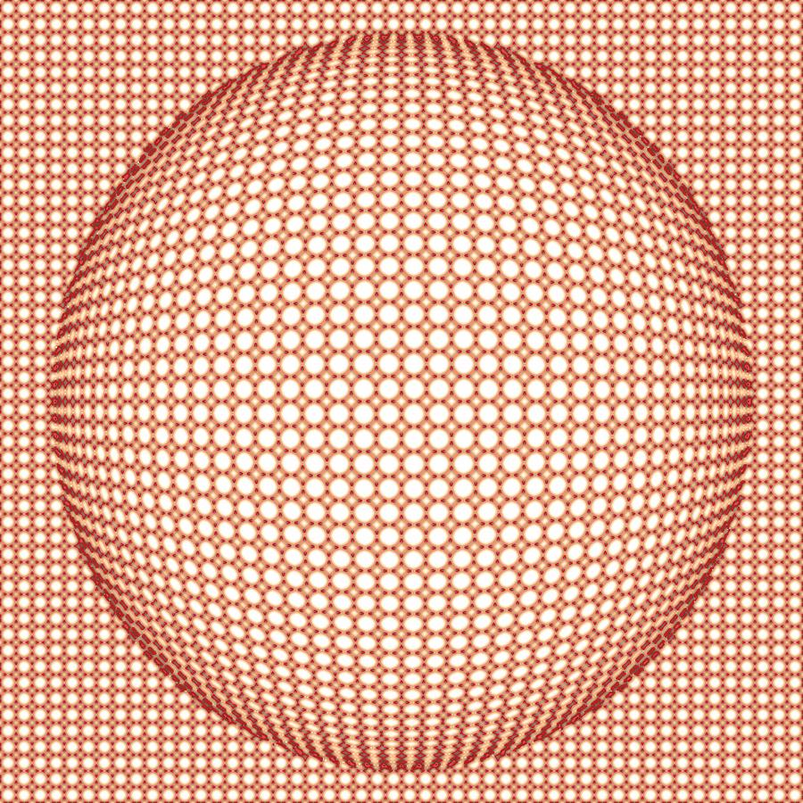 Optical Digital Art - Optical Illusion Orange Ball by Sumit Mehndiratta