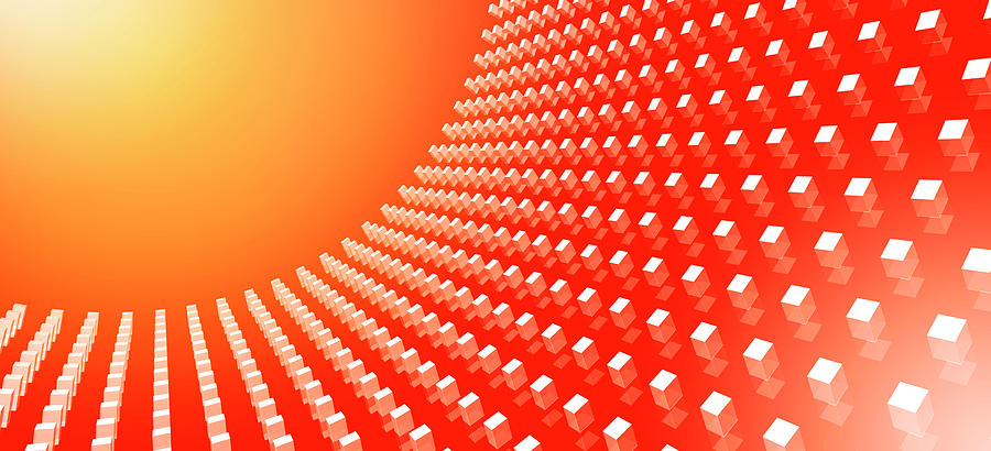 Horizontal Digital Art - Orange Abstract Cubes In A Curve by Ralf Hiemisch