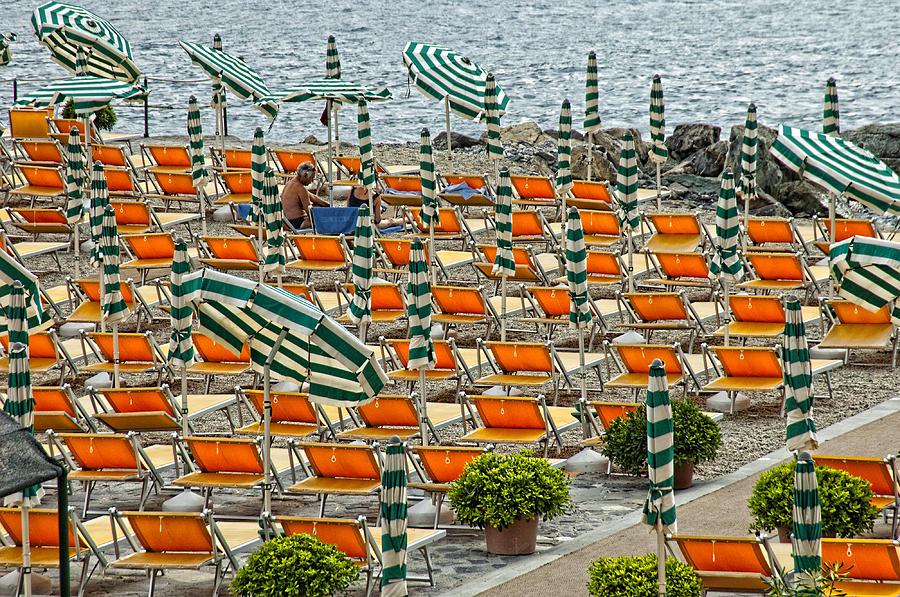Framed Pyrography - Orange Beach Chairs  by Mauro Celotti