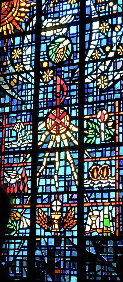 Stained Glass Photograph - Orange Blue Stained Glass Window by Thomas Woolworth
