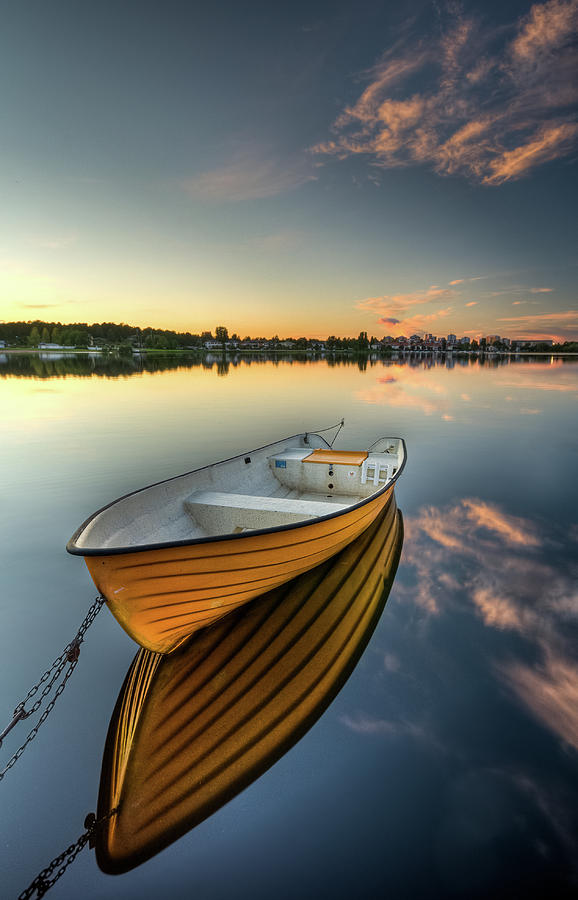 Vertical Photograph - Orange Boat With Strong Reflection by David Olsson