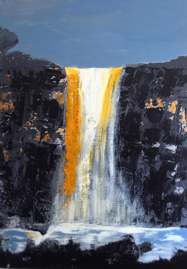 Waterfall Painting - Orange Cascade by Rob Heath