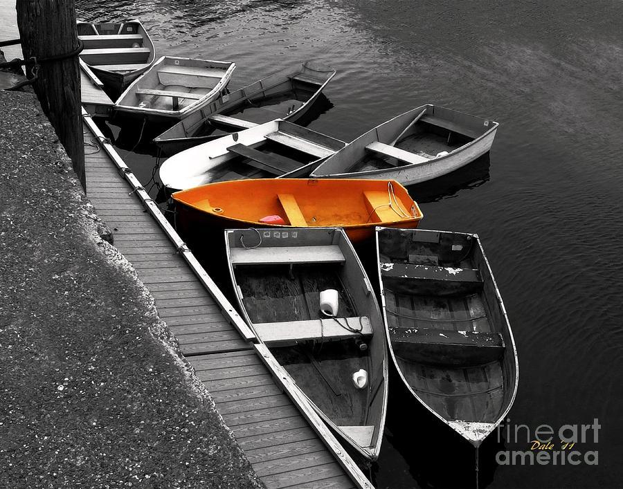 Boats Digital Art - Orange Dinghy by Dale   Ford