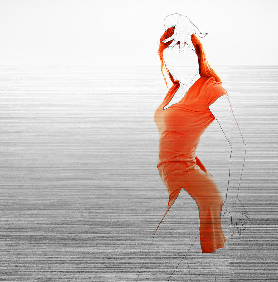 American Photograph - Orange Dress by Naxart Studio
