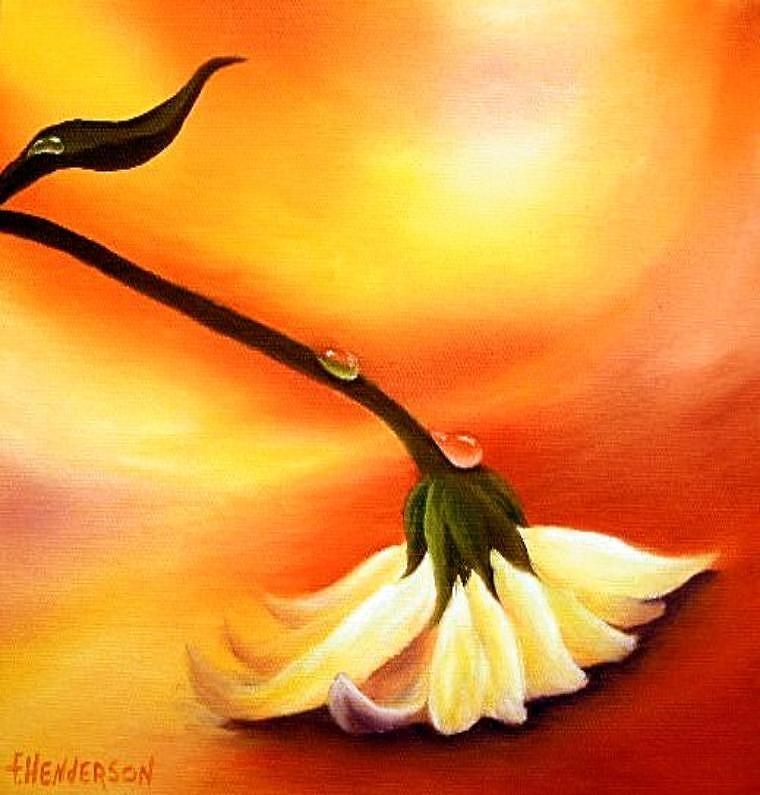Daisy Painting - Orange Fizz by Francine Henderson