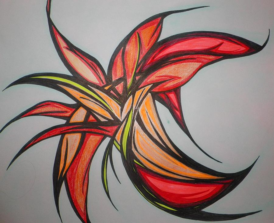orange flower drawing by tara francoise