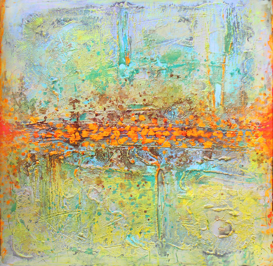 Abstract Tapestry - Textile - Orange Intenference by Lolita Bronzini