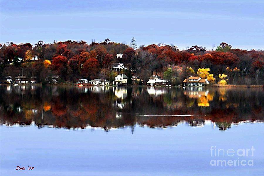 Reflection Digital Art - Orange Lake by Dale   Ford