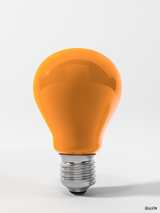 Cgi Digital Art - Orange Ligth Bulb by BaloOm Studios