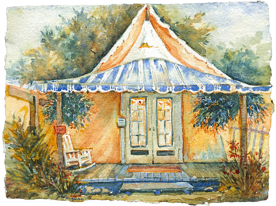 Ocean Grove Painting - Orange Lit Tent by MG Ferguson & Orange Lit Tent Painting by MG Ferguson