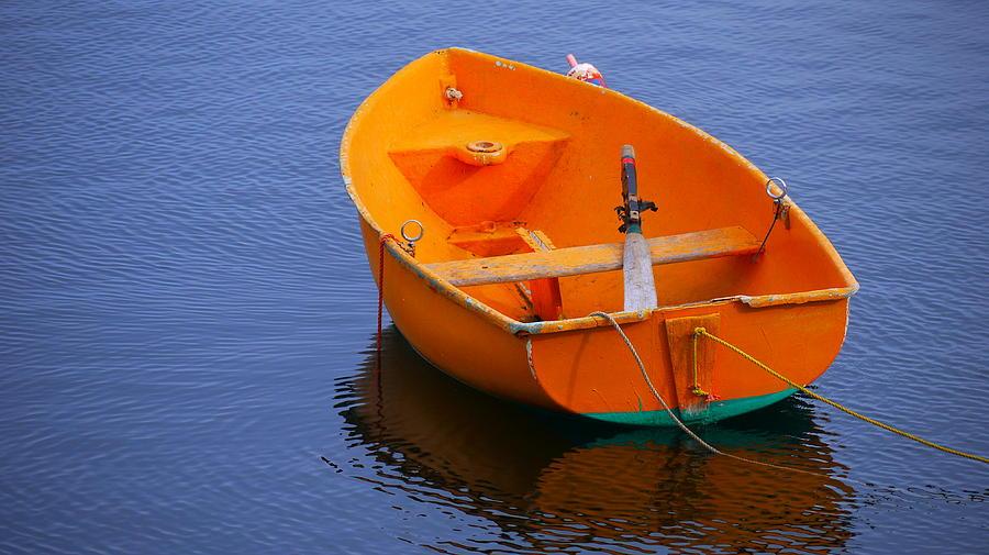 Boat Photograph - Orange by Nancie DeMellia