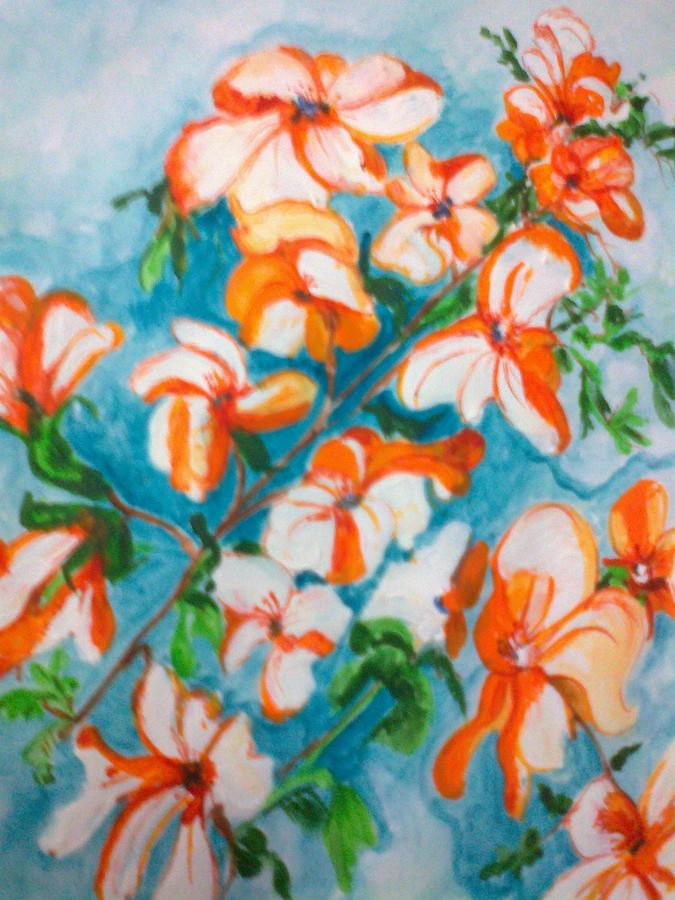 Orange Orchids Painting by Seema Sharma