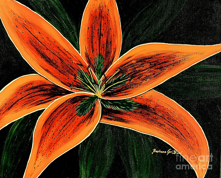 Orange Oriental Lily Painting By Barbara Griffin