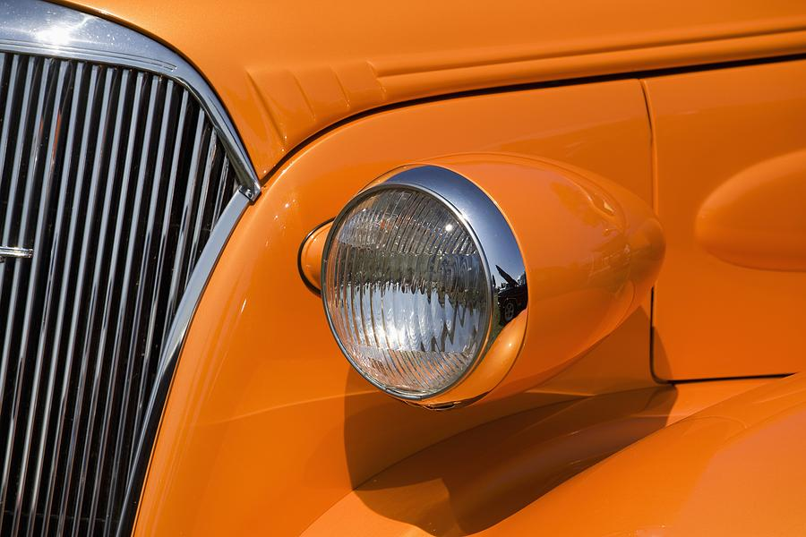 Orange Painted Vintage Cars Headlight Photograph By Michael Interisano