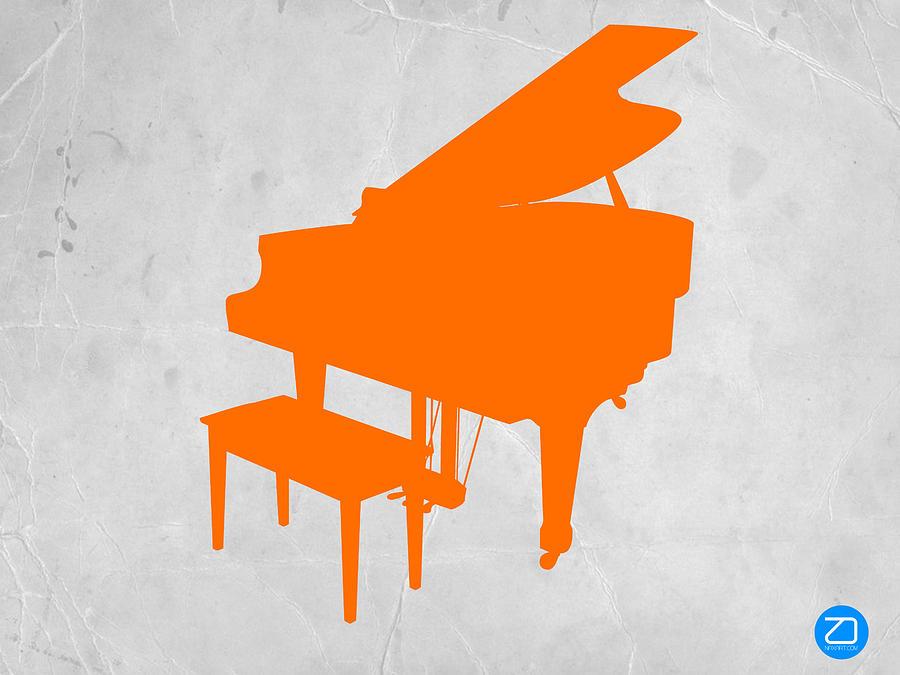 Piano Photograph - Orange Piano by Naxart Studio
