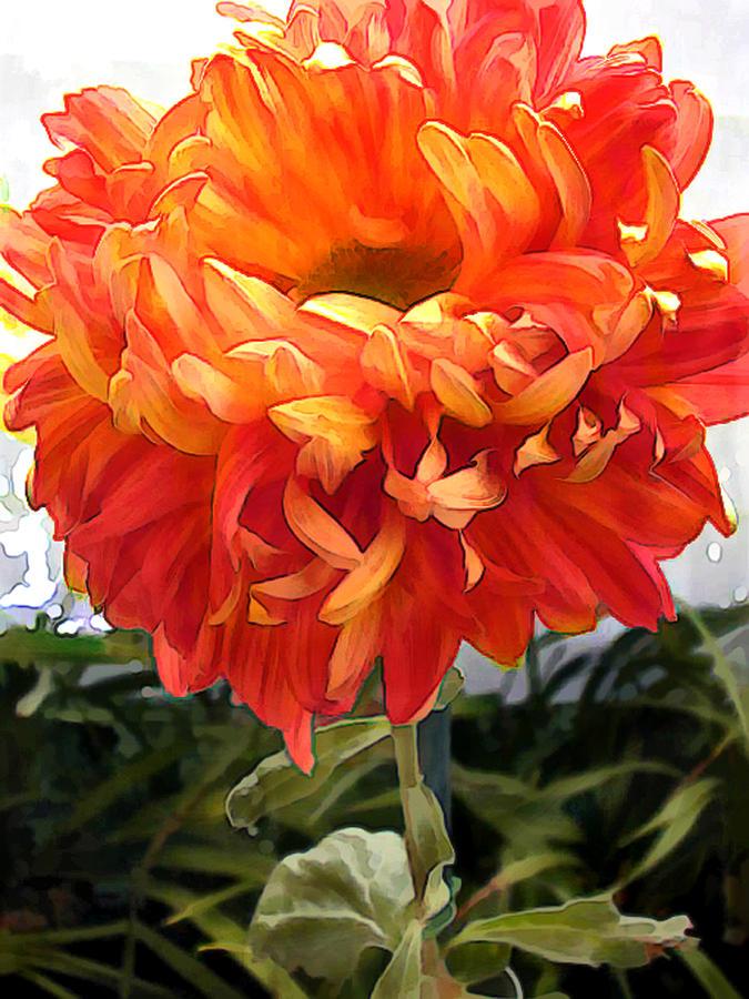 Flower Shower Curtain By Orange Pom Chrysanthemum Painting Elaine Plesser