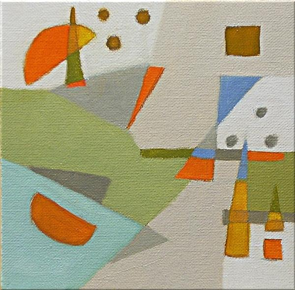 Geometric Painting - Orange Slices With Seeds by Cynthia Agathocleous