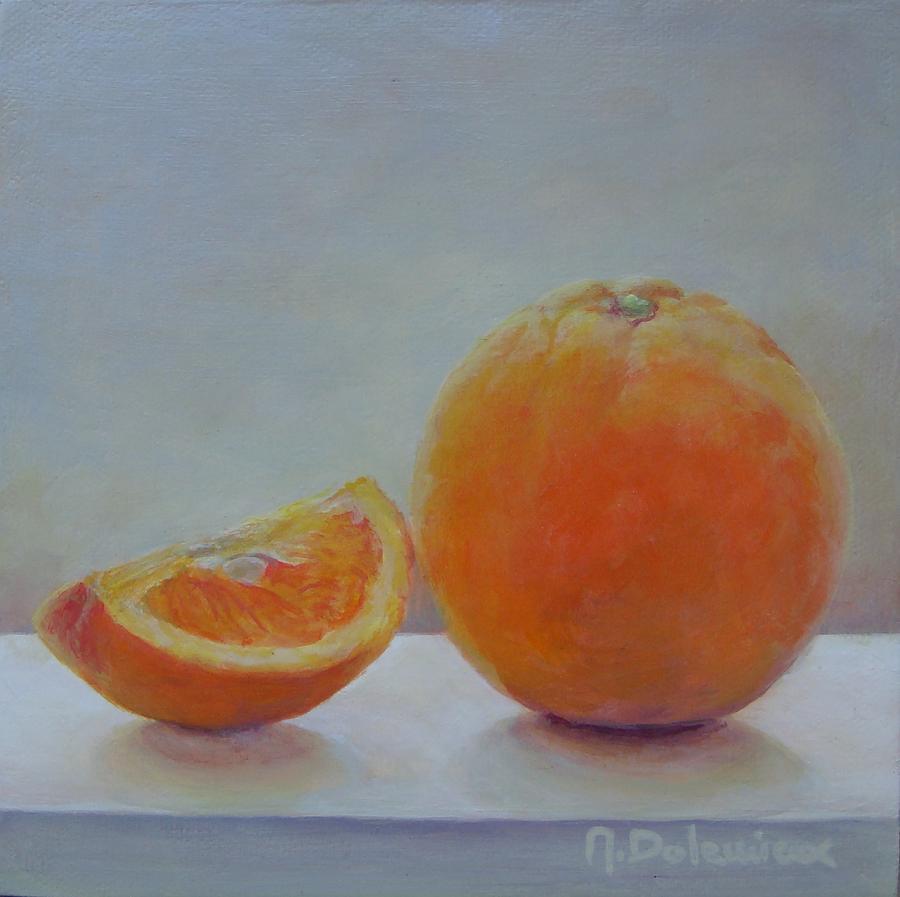 Acrylic Painting - Orange Un Quart by Muriel Dolemieux