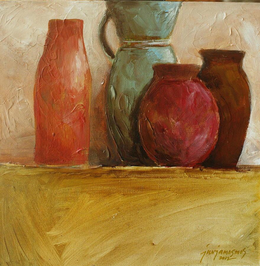 orange painting orange vase by jun jamosmos - Vase Painting