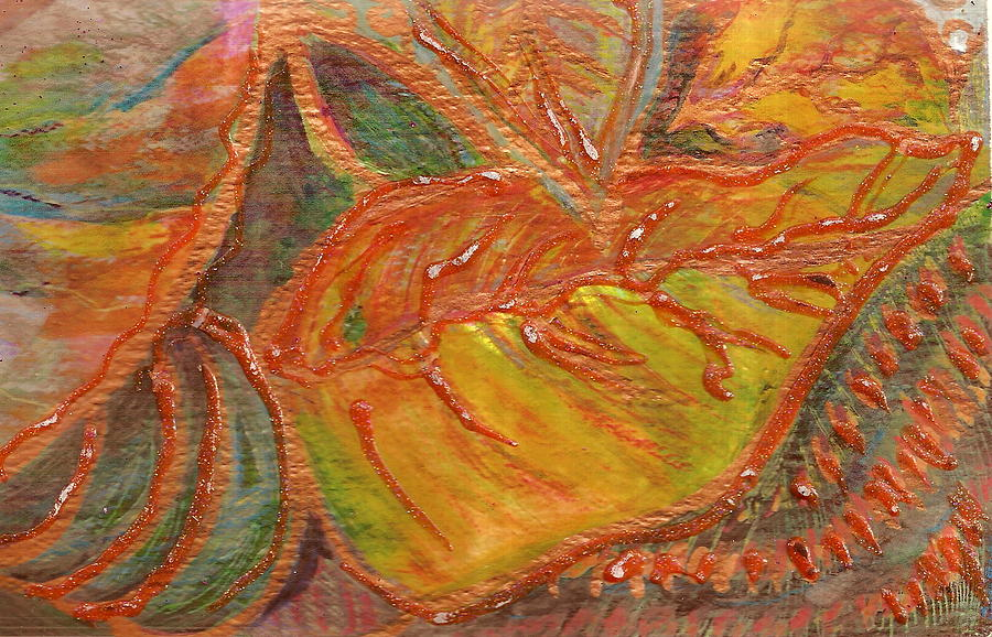 Orange Painting - Orange You Glad I Painted Orange Leaf by Anne-Elizabeth Whiteway