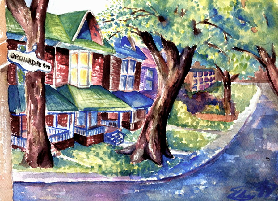 Watercolour Painting - Orchard Park Blvd by Mike N