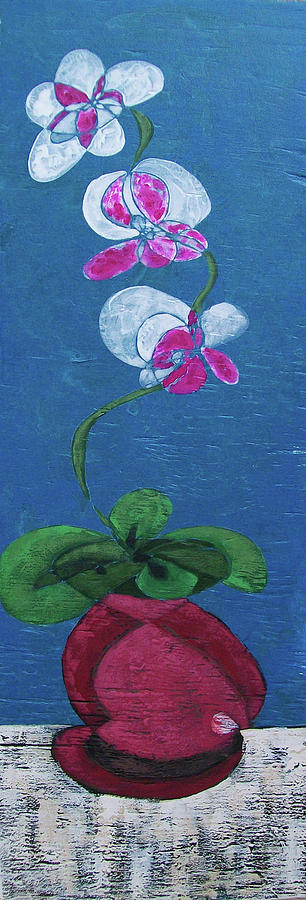 Floral Painting - Orchid Inspired Floral On Blue 2 by John Gibbs