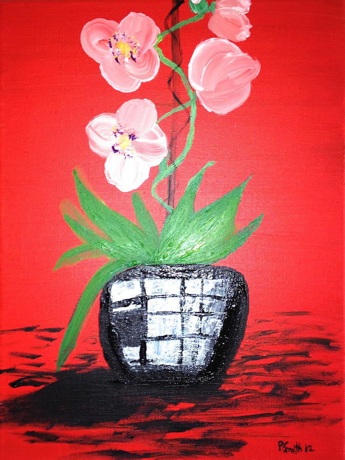 Red Orchids Painting - Orchids by Pretchill Smith