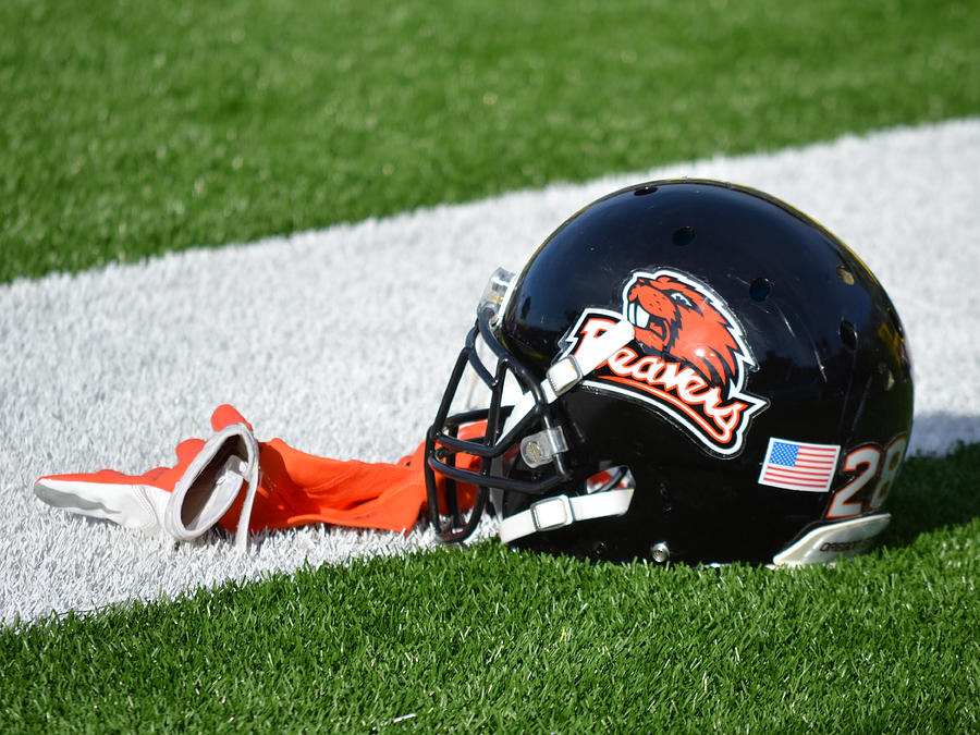 Oregon State University Photograph - Oregon State Helmet by Replay Photos