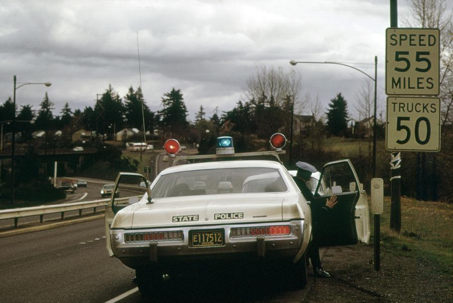 History Photograph - Oregon State Police Stops A Driver Who by Everett